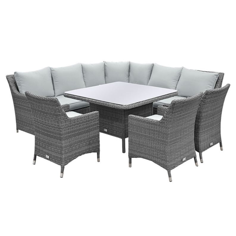 Rattan Corner Sofa Dining Set - Garden Furniture